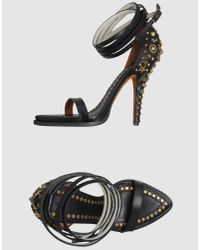 Givenchy | Black Studded Leather Sandals | Lyst