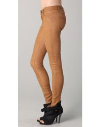 Current/Elliott | Green The Ankle Skinny Leather Pants | Lyst