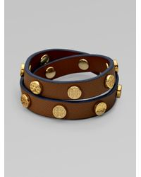 Tory Burch - Brown Patent Leather Wrap Bracelet - Lyst