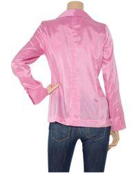 Halston | Pink Satin Blazer | Lyst