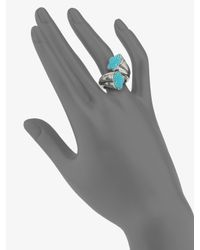 Lagos - Metallic Turquoise Accented Flower Cross-over Ring - Lyst