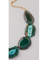 Kenneth Jay Lane   Green Chain & Natural Stone Necklace   Lyst