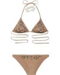 Melissa Odabash | Brown Monte Carlo Studded Triangle Bikini | Lyst