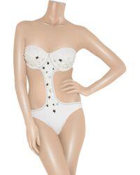 Melissa Odabash | White Capri Embellished Cutout Swimsuit | Lyst