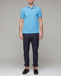Fred Perry | Blue Atoll Cotton Piqué Twin Tipped Slim Fit Polo for Men | Lyst