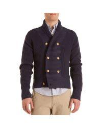 Gant Rugger - Blue Shawl Collar Cardigan for Men - Lyst