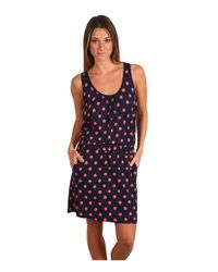 Juicy Couture | Black Polka Dot Keyhole Dress in Bright Cerise | Lyst