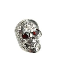 King Baby Studio | Metallic Large Skull W/ Eagle and Garnet Ring | Lyst