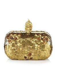 Alexander McQueen | Gold Sequin Skull Box Clutch | Lyst