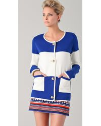Milly   Blue Roberta Striped Cardigan   Lyst