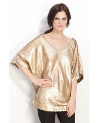 Rachel Zoe | Gold Sequin Dolman Top | Lyst