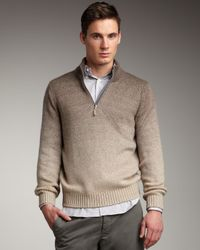 Brunello Cucinelli | Brown Degrade Half-zip Cashmere Sweater for Men | Lyst