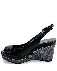 Stuart Weitzman - Black Patent Leather Slingback Wedge - Lyst