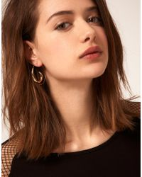 ASOS Collection - Metallic Asos Swirl Through Earrings - Lyst