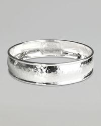 Ippolita - Metallic Wide Hammered Silver Bangle - Lyst