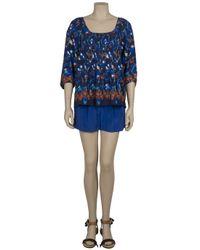 Tibi - Blue Silk Shorts - Lyst