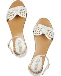 RED Valentino - White Bow-embellished Leather Sandals - Lyst