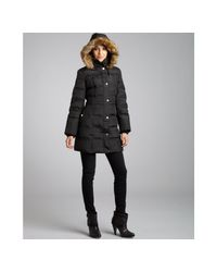London Fog - Black Quilted Faux Fur Hooded Down Coat - Lyst