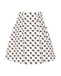 Miu Miu | White Printed Cotton A-line Skirt | Lyst