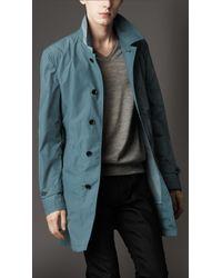 Burberry | Blue Mid-length Nylon Blend Contrast Undercollar Trench Coat for Men | Lyst