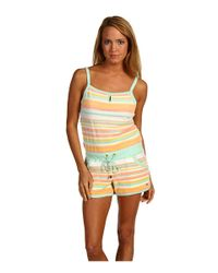 Juicy Couture | Multicolor Vintage Stripe Terry Keyhole Romper | Lyst