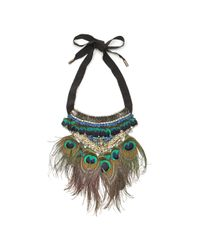 Matthew Williamson | Black Peacock Feather Necklace | Lyst