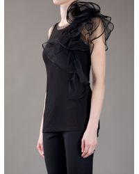 Valentino | Black Ruffle Detail Top | Lyst