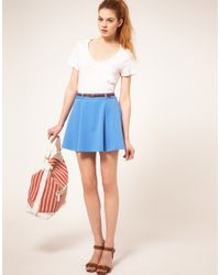 ASOS Collection | Blue Asos Ponti Mini Skirt with Belt | Lyst
