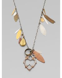 Bing Bang - Metallic Mixed Charm Witchs Heart Pendant Necklace - Lyst