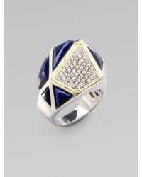 Kara Ross - Metallic White Sapphire & Lapis Pyramid Ring - Lyst