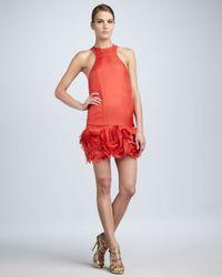 Vera Wang Lavender - Pink Rosette-hem Cocktail Dress - Lyst