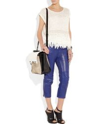 Acne | Purple Cropped Leather Pants | Lyst