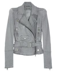 Alexander McQueen | Gray Strong-shouldered Denim Biker Jacket | Lyst