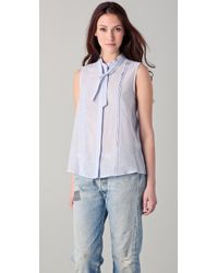 Boy by Band of Outsiders - Purple Tie Neck Sleeveless Top - Lyst