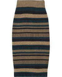 Burberry Prorsum   Brown High-waisted Knitted Pencil Skirt   Lyst