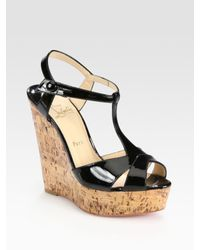 be6eea6818a Christian Louboutin. Women s Black Patent Leather T-strap Cork Wedge Sandals