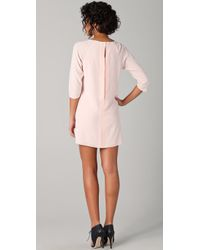 Tibi - Pink Gold Lace Shift Dress - Lyst