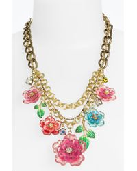 Betsey Johnson | Multicolor Hawaiian Luau Floral Bib Statement Necklace | Lyst