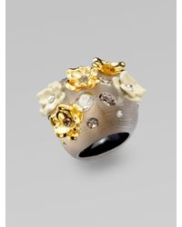 Alexis Bittar | Gray Swarovski Crystal Accented Floral Lucite Ring | Lyst