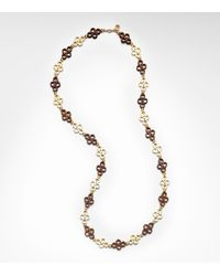Tory Burch - Brown Clover Link Necklace - Lyst