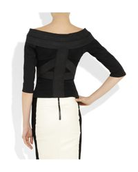 Donna Karan New York | Black Stretch-jersey and Linen-blend Top | Lyst