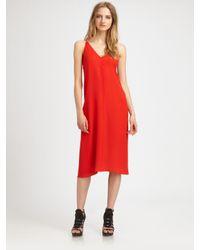 T By Alexander Wang | Red Silk Vback Dress | Lyst