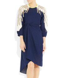 Vionnet | Blue Pleated Wool-felt And Satin Dress | Lyst