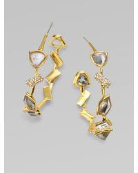 Alexis Bittar - Metallic Swarovski Crystal Accented Hoop Earrings - Lyst