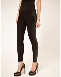 ASOS Collection - Black Asos Leggings with Pu Panel - Lyst