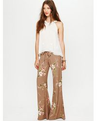 Free People | Brown Printed Drawstring Pant | Lyst