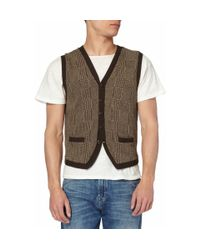 Polo Ralph Lauren - Brown Prince Of Wales Check Knitted Cotton-blend Waistcoat for Men - Lyst