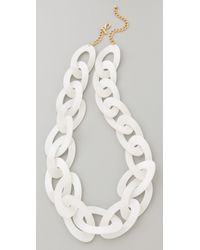 Kenneth Jay Lane | Pearlized White Link Necklace | Lyst