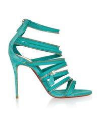 Christian Louboutin | Green 20th Anniversary Unzip 100 Suede Sandals | Lyst