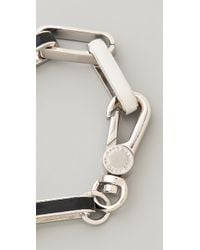 Marc By Marc Jacobs - Black Enamel Turnlock Stripey Link Bracelet - Lyst